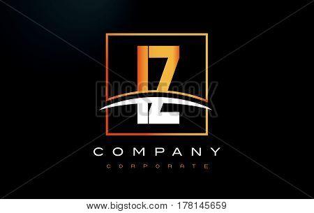 IZ I Z Golden Letter Logo Design with Swoosh and Rectangle Square Box Vector Design. poster