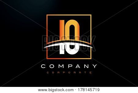 Io I O Golden Letter Logo Design With Gold Square And Swoosh.