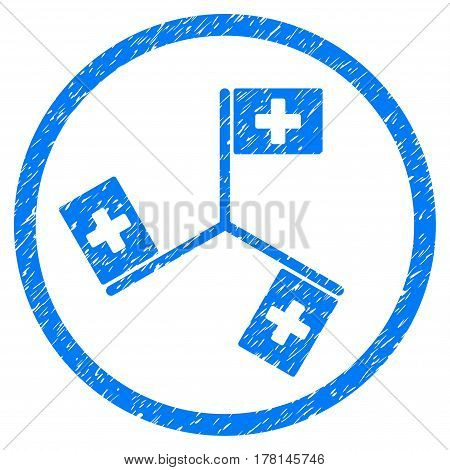 Hospital Flags grainy textured icon inside circle for overlay watermark stamps. Flat symbol with unclean texture.