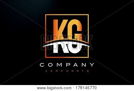 Kg K G Golden Letter Logo Design With Gold Square And Swoosh.