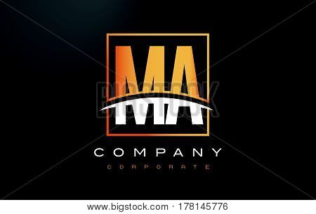 MA M A Golden Letter Logo Design with Swoosh and Rectangle Square Box Vector Design. poster