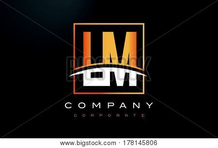 Lm L M Golden Letter Logo Design With Gold Square And Swoosh.