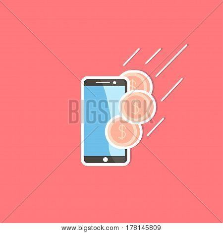 Mobile Transactions. Mobile phone vector icon sticker