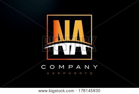Na N A Golden Letter Logo Design With Gold Square And Swoosh.