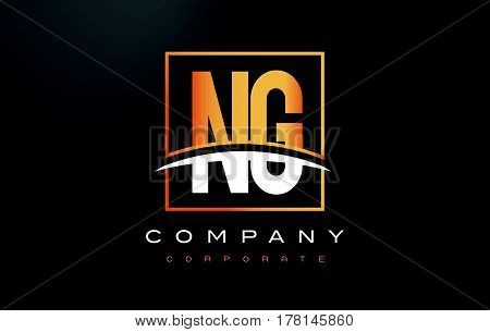 Ng N G Golden Letter Logo Design With Gold Square And Swoosh.