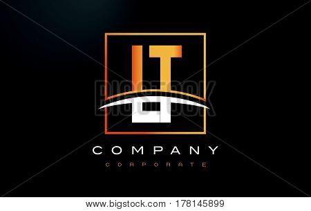 Lt L T Golden Letter Logo Design With Gold Square And Swoosh.