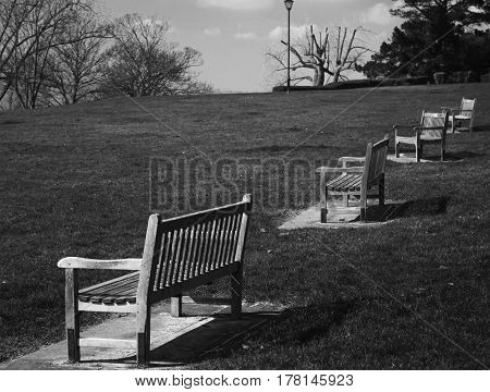 Black And White Benches with a feel of lonelines