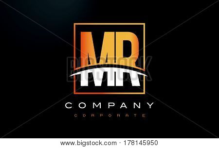 Mr M R Golden Letter Logo Design With Gold Square And Swoosh.