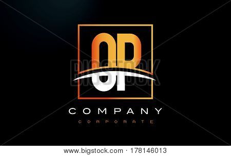Op O P Golden Letter Logo Design With Gold Square And Swoosh.