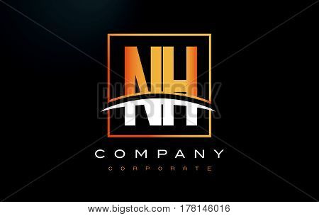 Nh N H Golden Letter Logo Design With Gold Square And Swoosh.