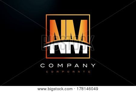 Nm N M Golden Letter Logo Design With Gold Square And Swoosh.