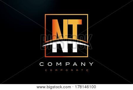 Nt N T Golden Letter Logo Design With Gold Square And Swoosh.