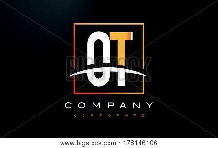 Ov O V Golden Letter Logo Design With Gold Square And Swoosh.