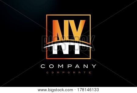 Ny N Y Golden Letter Logo Design With Gold Square And Swoosh.