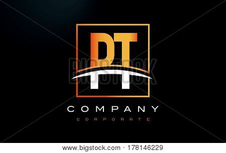 Pt P T Golden Letter Logo Design With Gold Square And Swoosh.