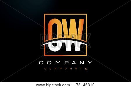 Ow O W Golden Letter Logo Design With Gold Square And Swoosh.