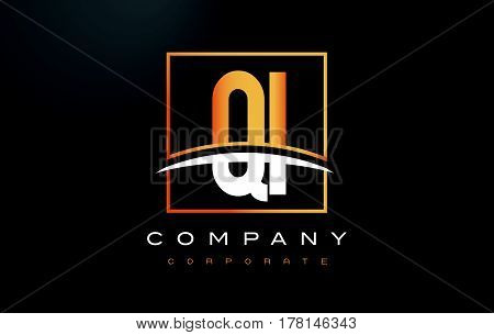 Qi Q I Golden Letter Logo Design With Gold Square And Swoosh.