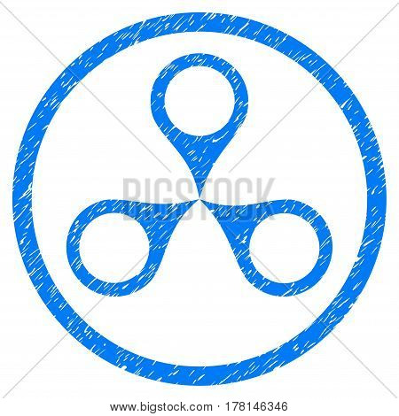 Map Markers grainy textured icon inside circle for overlay watermark stamps. Flat symbol with dirty texture. Circled dotted vector blue ink rubber seal stamp with grunge design on a white background.
