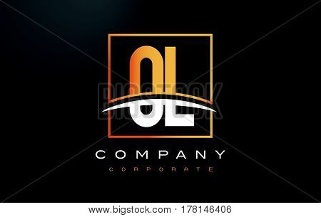 Ol O L Golden Letter Logo Design With Gold Square And Swoosh.