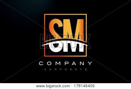 Sm S M Golden Letter Logo Design With Gold Square And Swoosh.