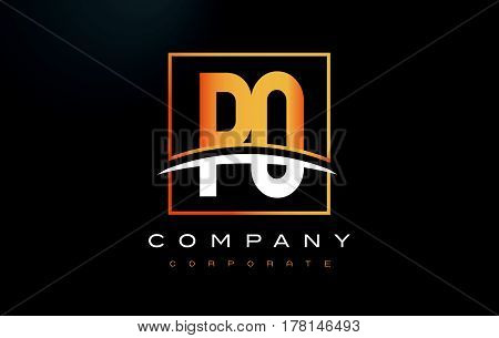 Po P O Golden Letter Logo Design With Gold Square And Swoosh.