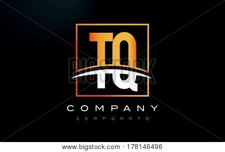 Tq T Q Golden Letter Logo Design With Gold Square And Swoosh.