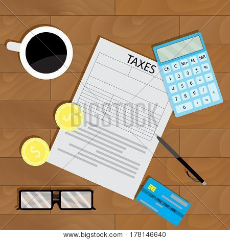 Tax calculate business. Finance accountant and count financial process vector illustration