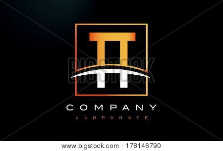 Tt T Golden Letter Logo Design With Gold Square And Swoosh.