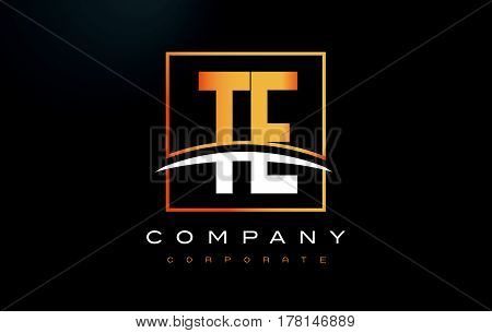 Te T E Golden Letter Logo Design With Gold Square And Swoosh.