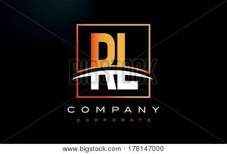 Rl R L Golden Letter Logo Design With Gold Square And Swoosh.