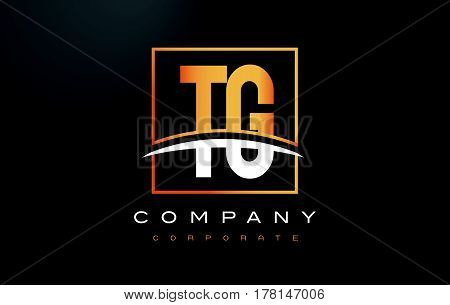 Tg T G Golden Letter Logo Design With Gold Square And Swoosh.