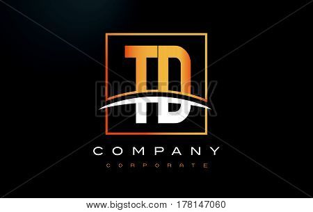 Td T D Golden Letter Logo Design With Gold Square And Swoosh.
