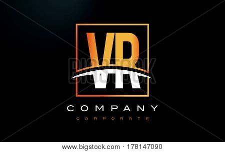 Vr V R Golden Letter Logo Design With Gold Square And Swoosh.
