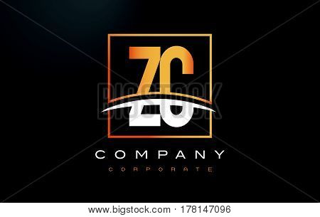 Zc Z C Golden Letter Logo Design With Gold Square And Swoosh.