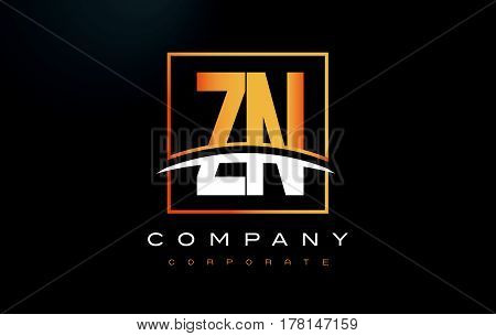 Zn Z N Golden Letter Logo Design With Gold Square And Swoosh.