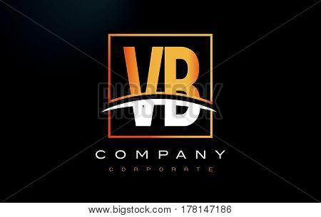 Vb V B Golden Letter Logo Design With Gold Square And Swoosh.