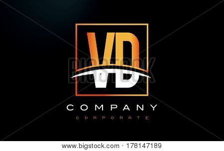 Vd V D Golden Letter Logo Design With Gold Square And Swoosh.