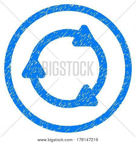 Rotate Back grainy textured icon inside circle for overlay watermark stamps. Flat symbol with unclean texture.