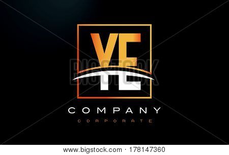 Ye Y E Golden Letter Logo Design With Gold Square And Swoosh.
