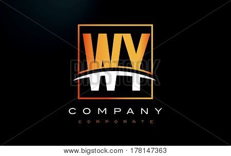 Wy W Y Golden Letter Logo Design With Gold Square And Swoosh.