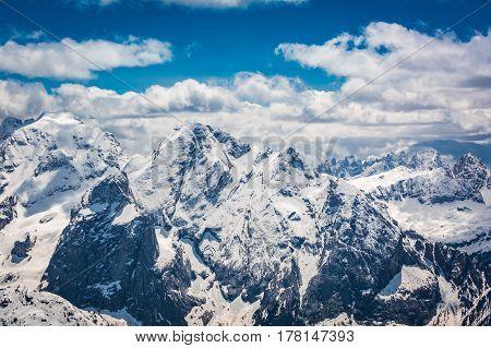 Stunning View From Top Of Sass Pordoi, Dolomites, Italy, Europe