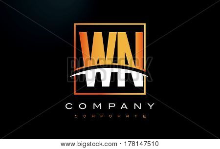 Wn W N Golden Letter Logo Design With Gold Square And Swoosh.