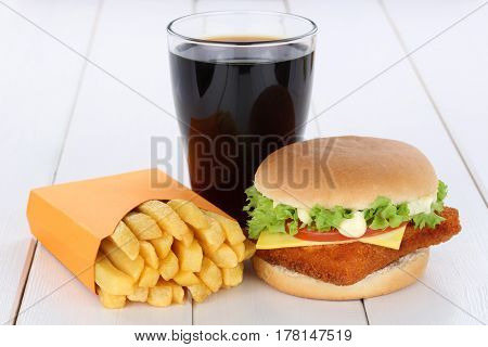 Fish Burger Fishburger Hamburger And Fries Menu Meal Combo Cola