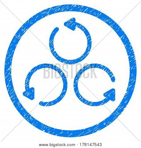 Rotation grainy textured icon inside circle for overlay watermark stamps. Flat symbol with dirty texture. Circled dotted vector blue ink rubber seal stamp with grunge design on a white background.
