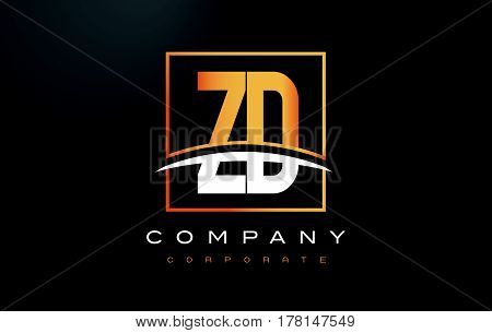 Zd Z D Golden Letter Logo Design With Gold Square And Swoosh.