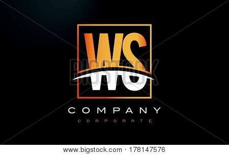 Ws W S Golden Letter Logo Design With Gold Square And Swoosh.