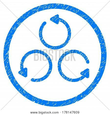 Rotation grainy textured icon inside circle for overlay watermark stamps. Flat symbol with unclean texture. Circled dotted vector blue ink rubber seal stamp with grunge design on a white background.