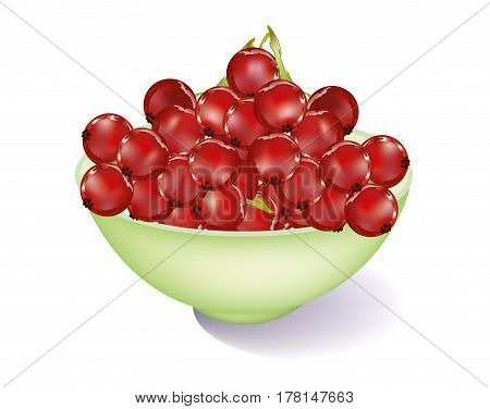 Green bowl with red currents on white background