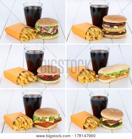 Hamburger Collection Set Cheeseburger And Fries Menu Meal Combo Cola
