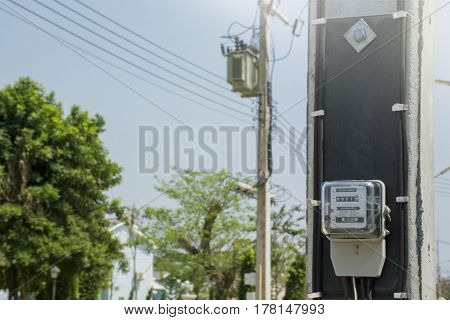 It is close up  Electric meters in thailand.